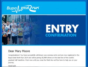 Great North Run entry