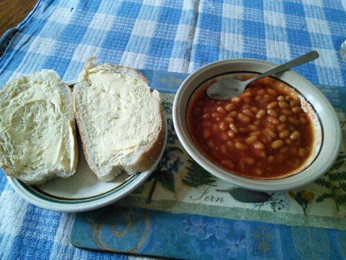 Baked beans and bread and butter