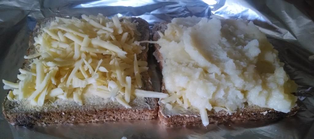 Cheese and mashed potato sandwich