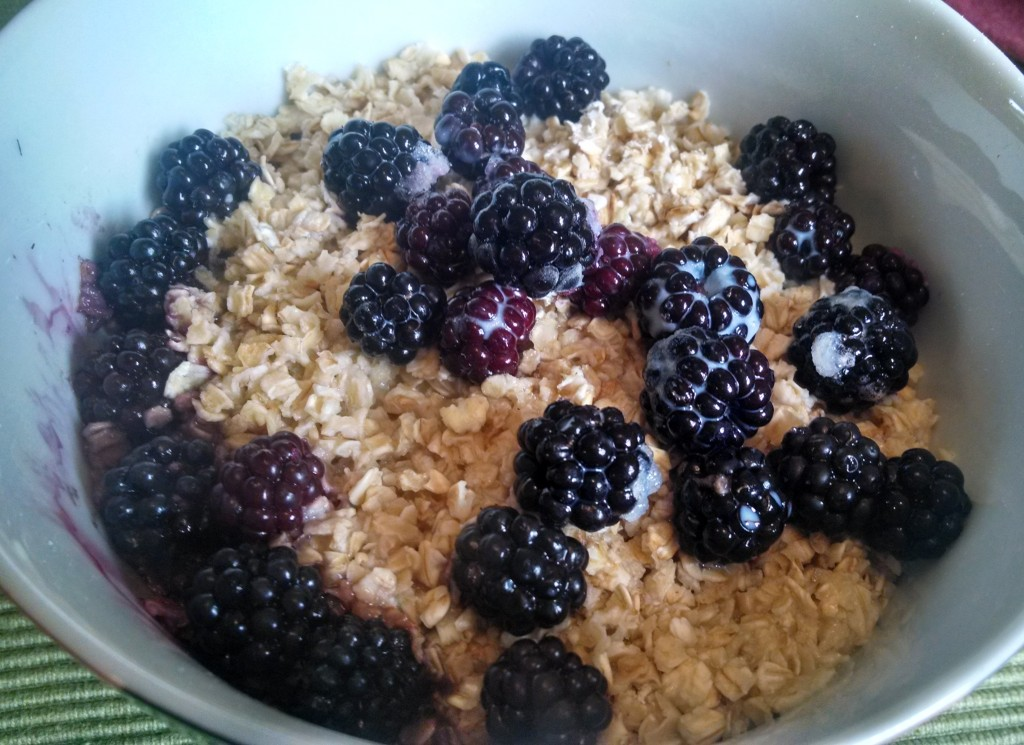 Porridge oats and blackberries