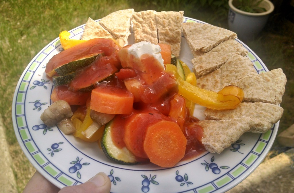 Roasted veg with pitta bread and goats cheese