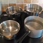 Boiling saucepans for a bath