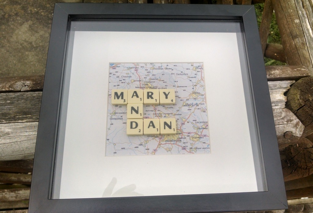 Mary and Dan wedding gift scrabble tiles
