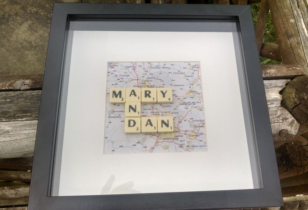 Mary and Dan wedding gift scrabble tiles