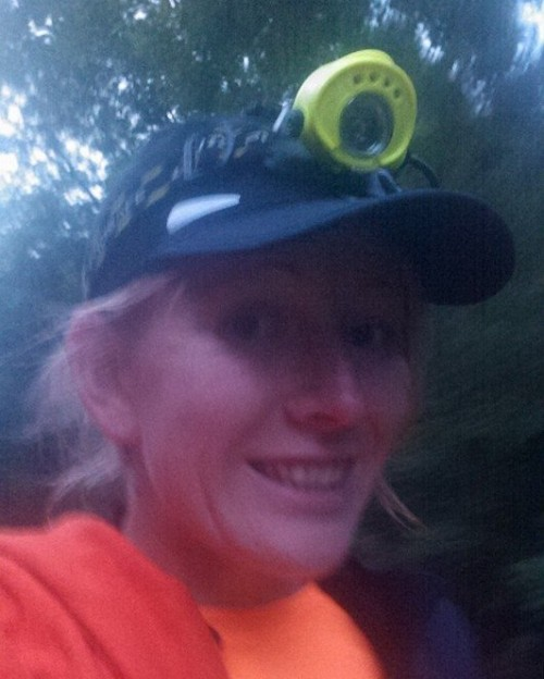 Blurry headtorch selfie