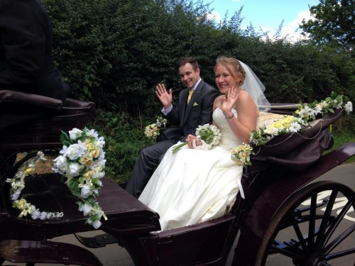 Horse and carriage ride at our wedding