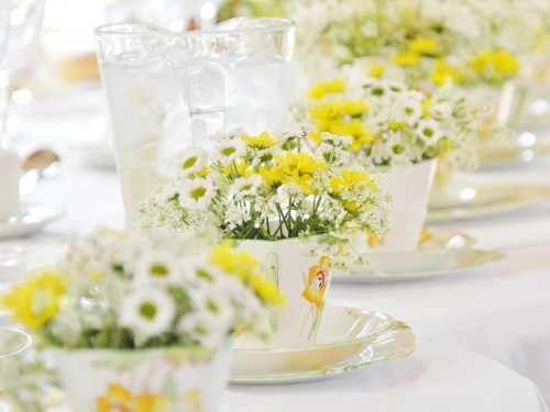 Yellow and white flowers in teacups