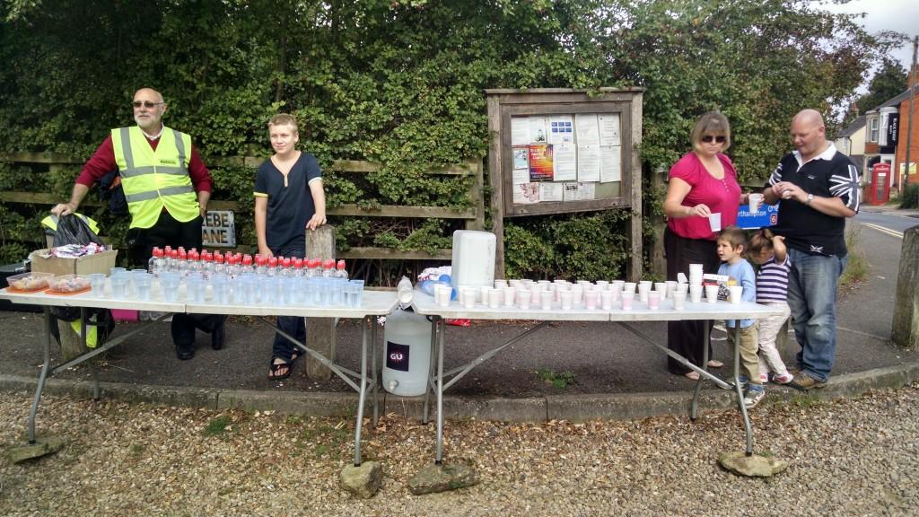 Water station at Northampton Half marathon