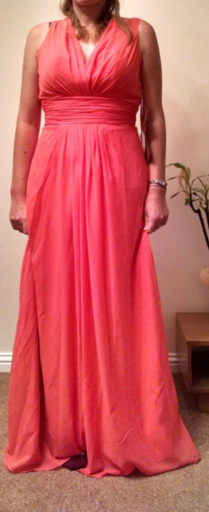 Vicki's coral bridesmaid dress
