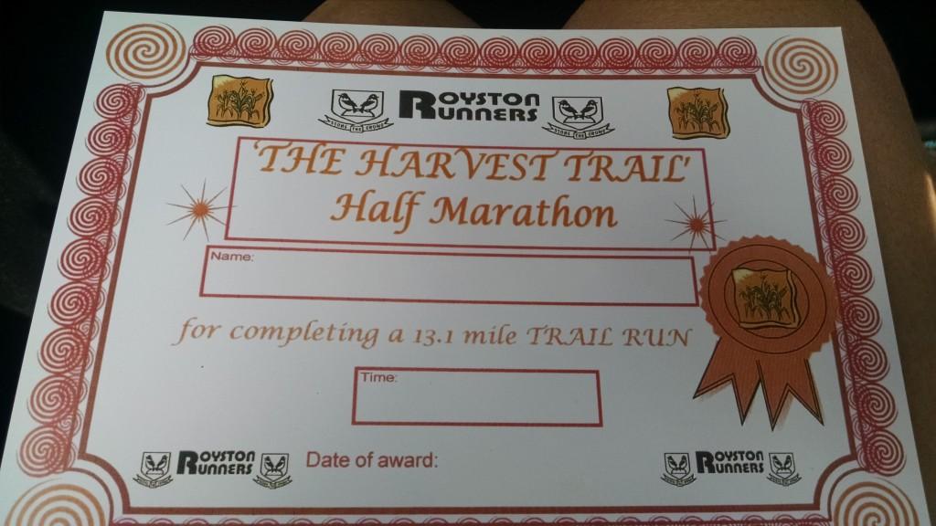 Royston half marathon certificate