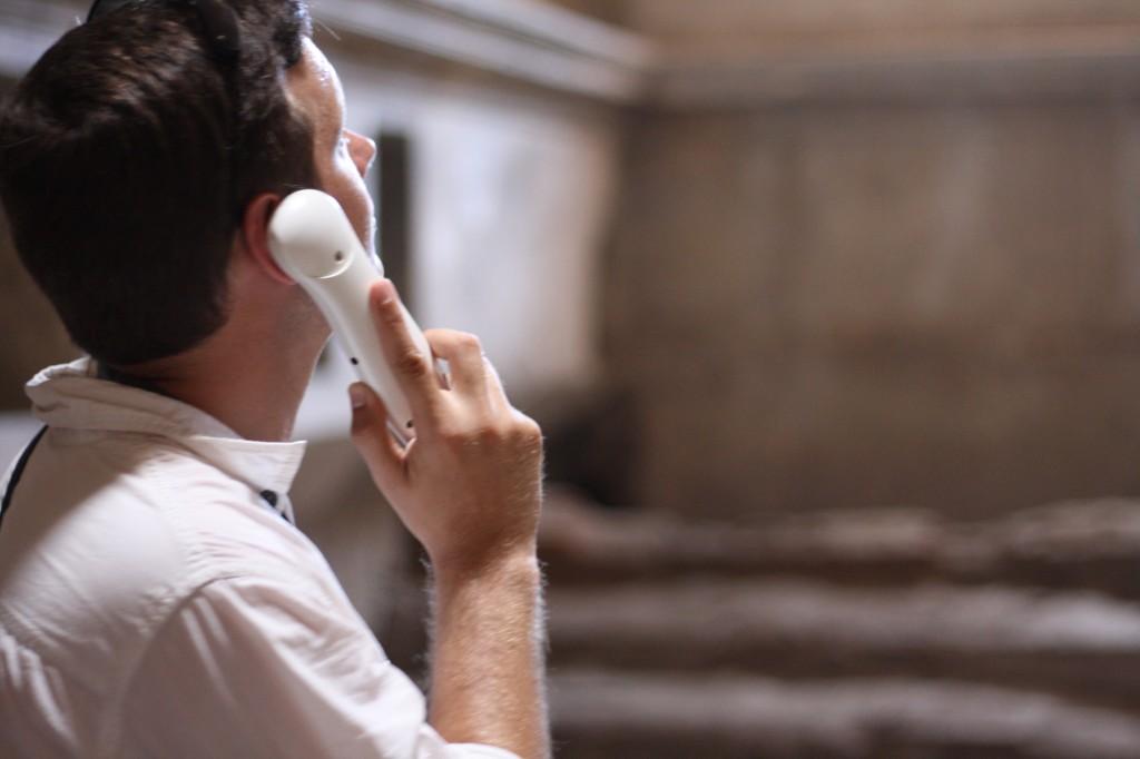 Dan on the phone in Pompeii