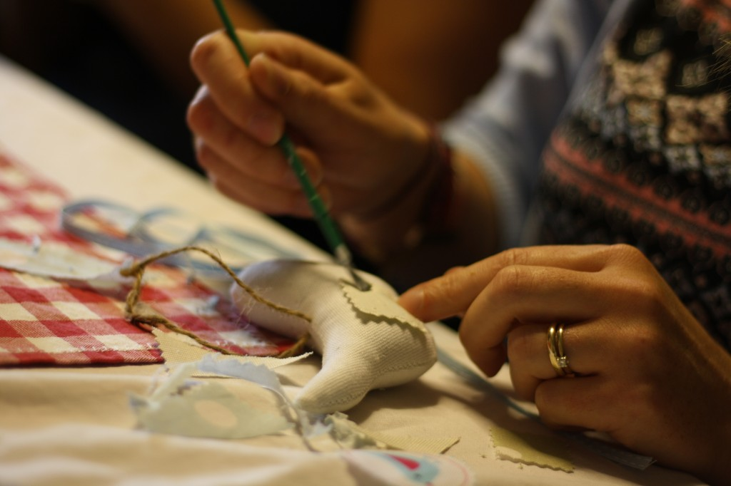 Making bunting at Zoe's hen do