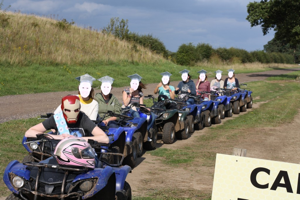 Zoe's hen do out on the quad bikes with masks on