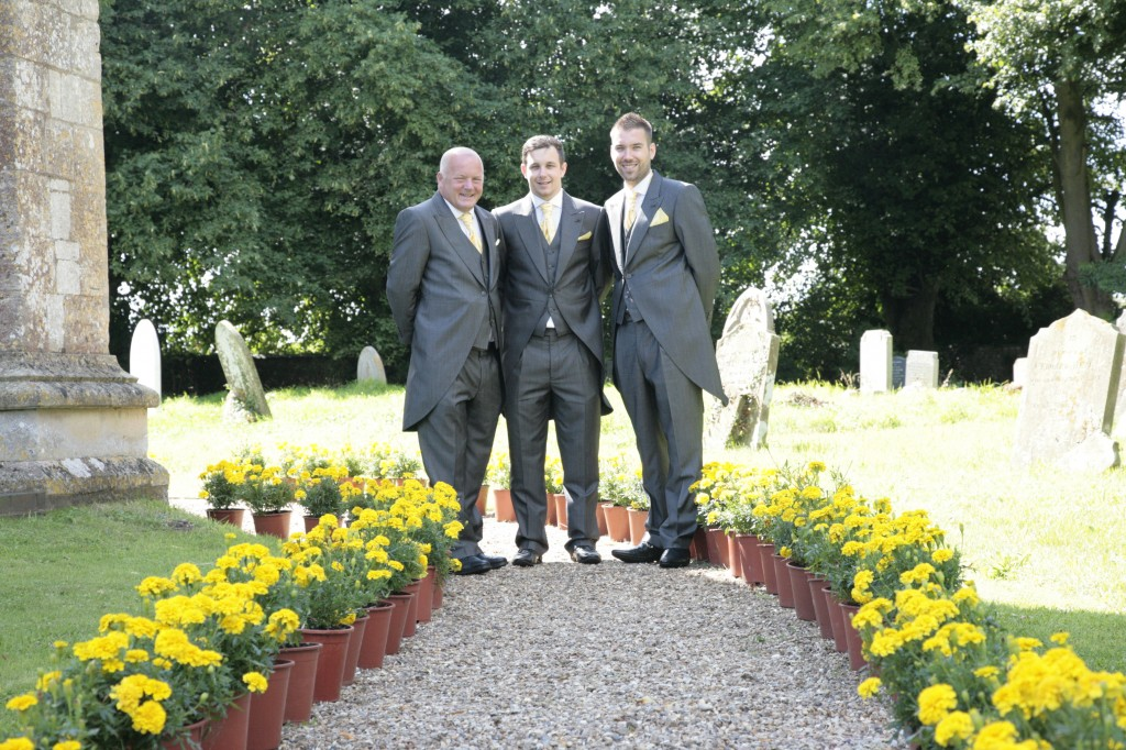 Groom, Dad and best man at our wedding, Sharrington church
