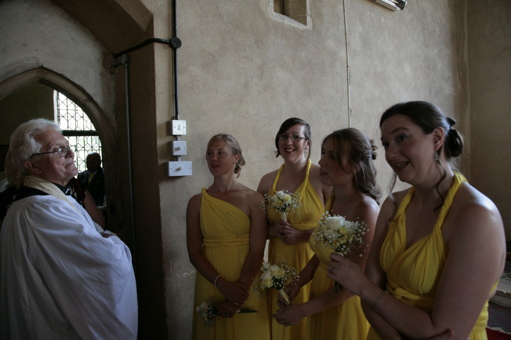 Bridesmaids outside the vestry
