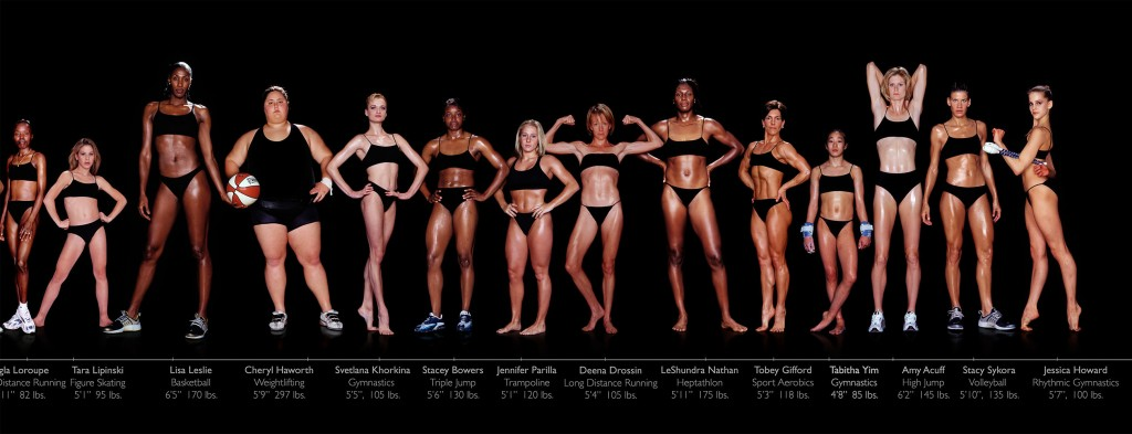 Different sized women athletes
