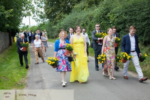 Wedding guests with marigolds