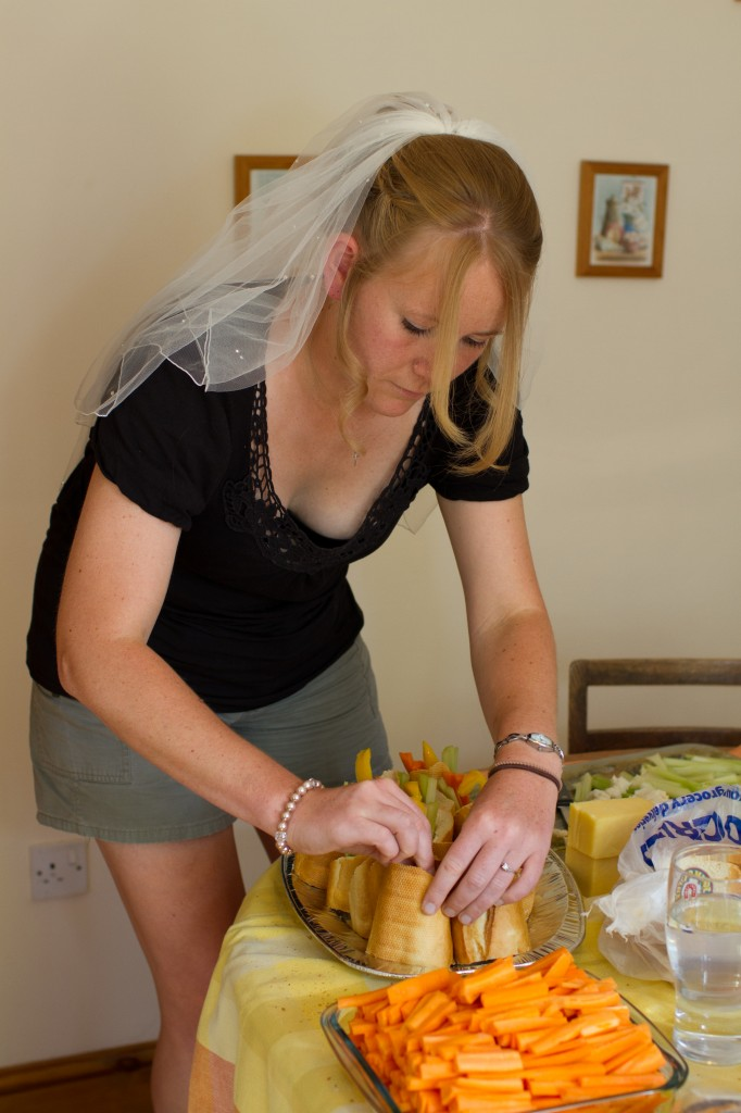 Preparing the wedding food