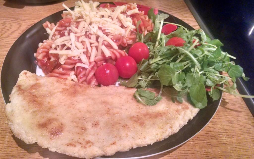 Tomato pasta and flatbread