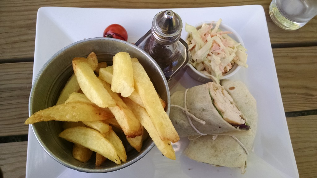Chicken caesar wrap with chips at Woodford tea rooms