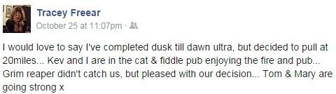 Tracey Dusk 'til Dawn status