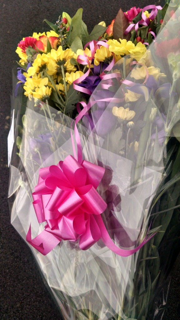 Leaving flowers from school