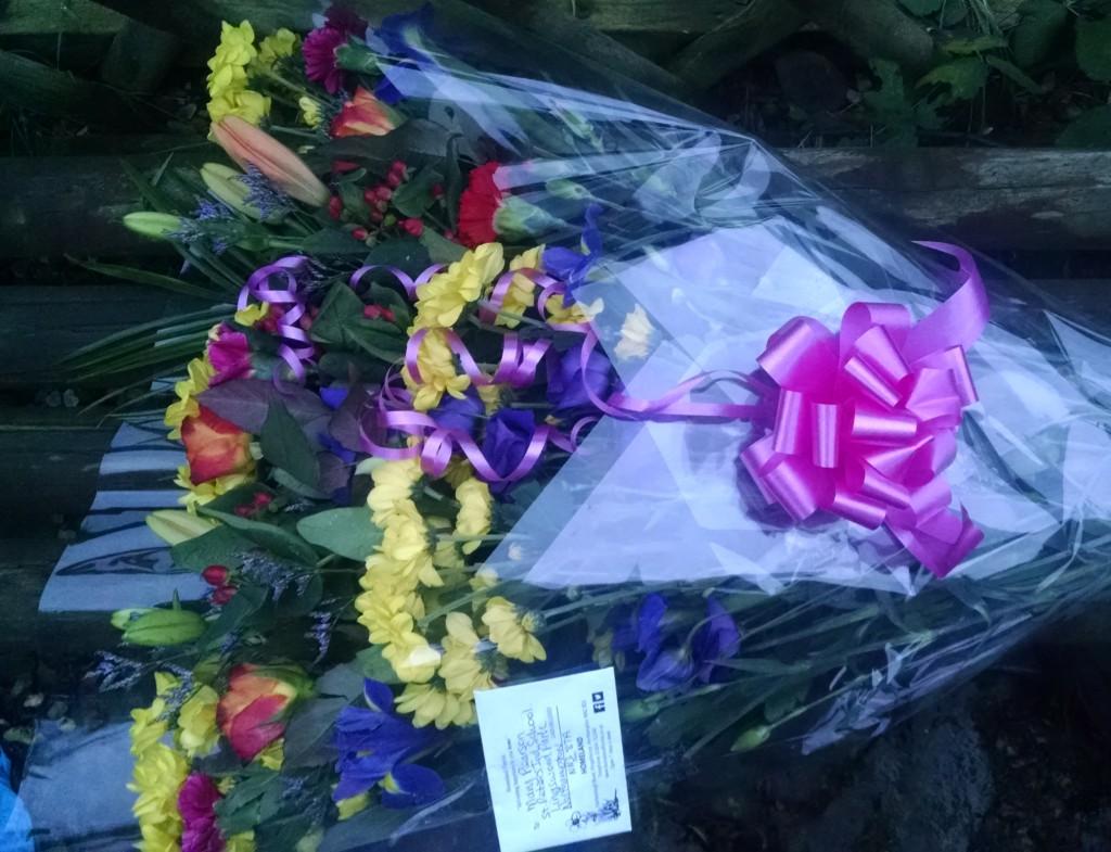 Leaving flowers from school