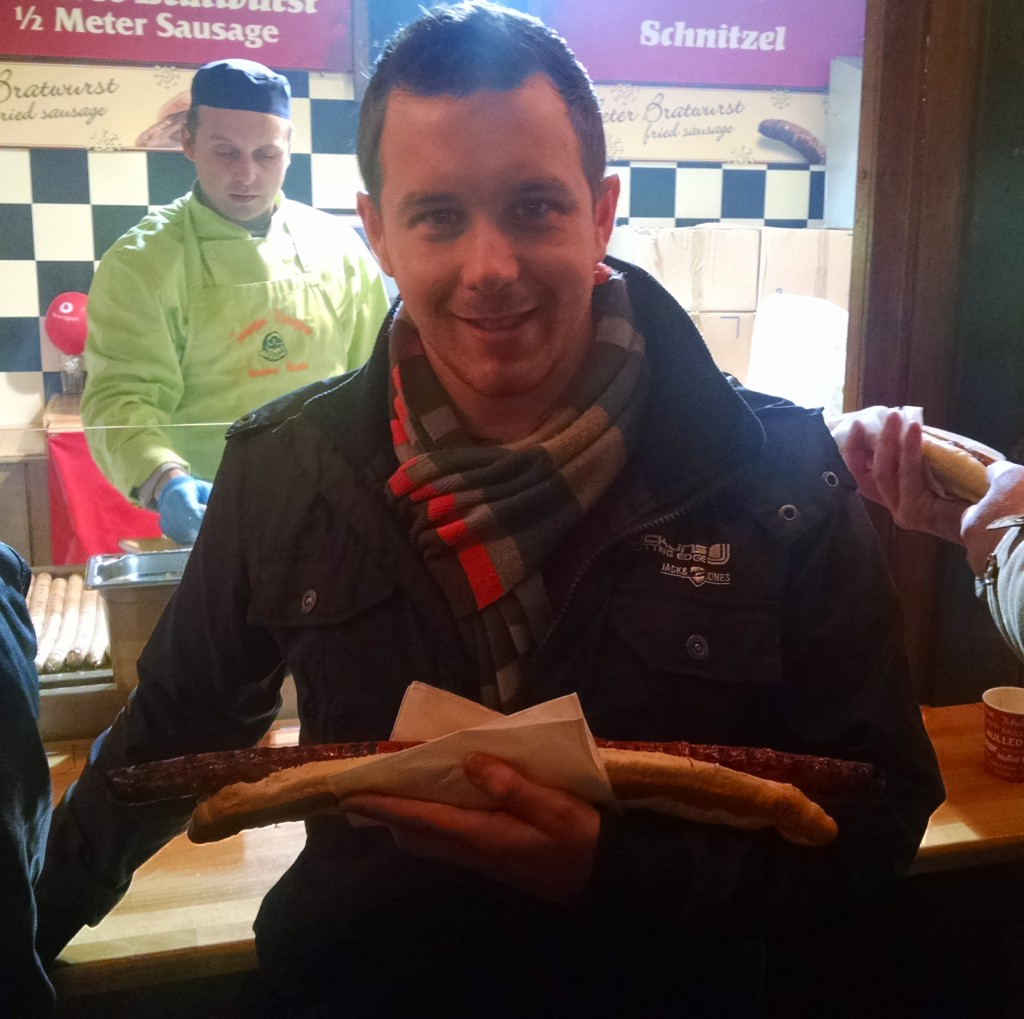 Metre long hot dog at Birmingham Christmas market