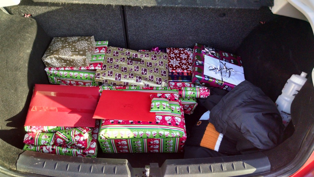 Christmas presents in the boot of the car