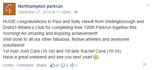 100 parkruns - Sally and Paul