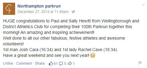 100 parkruns - Sally and Paul