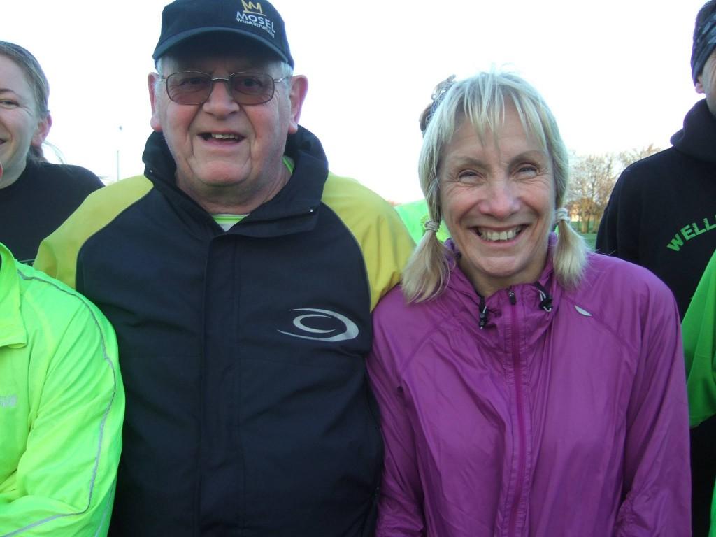 Sally and Paul 100th parkrun at Northampton