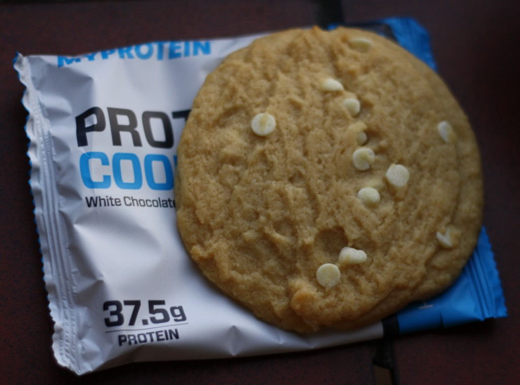 MyProtein White Chocolate Almond flavour cookie