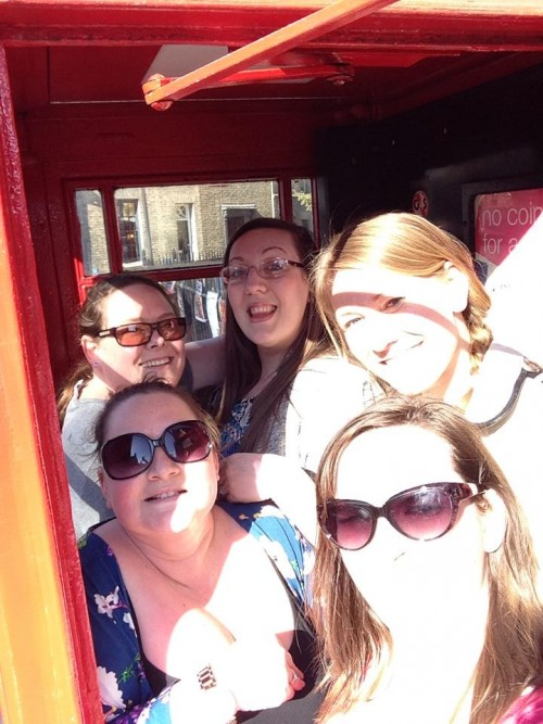 Vicki's hen do - fitting in a phone box