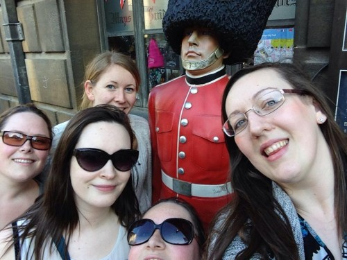 Vicki's hen do - photo with a statue
