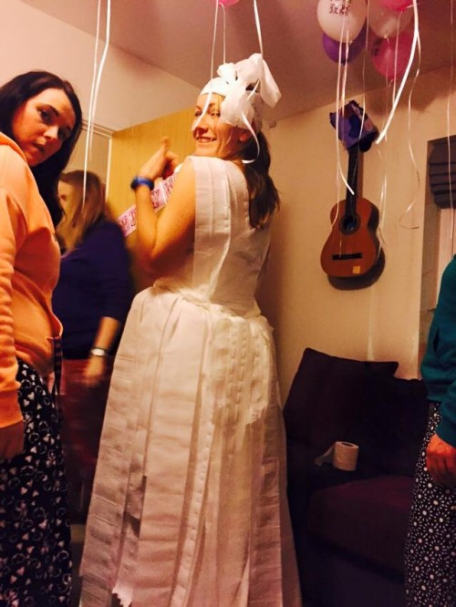 Vicki's hen do - me in a wedding dress