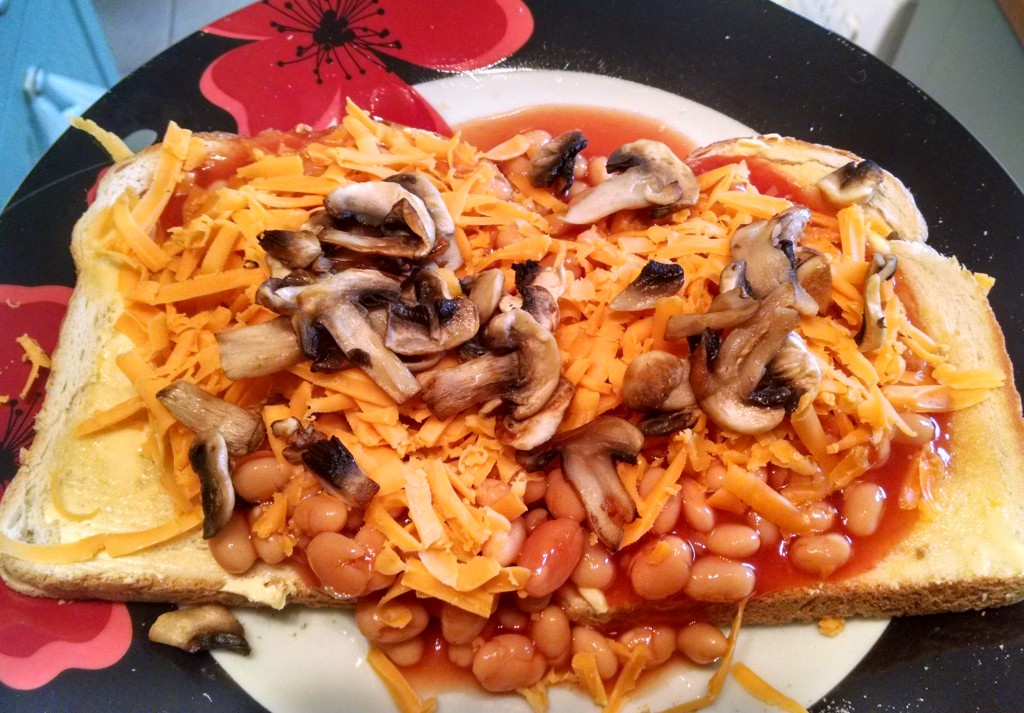 Beans on toast with cheese and mushrooms