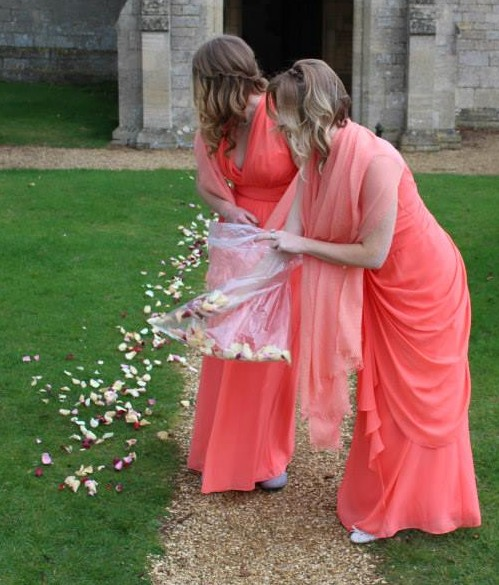 Steph and me scattering rose petals