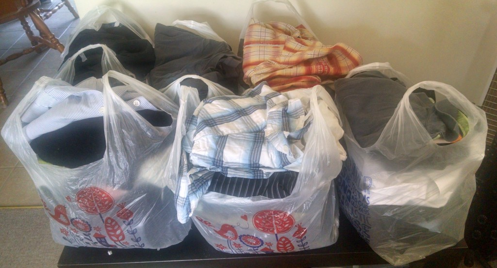 Bags of clothes for the charity shop