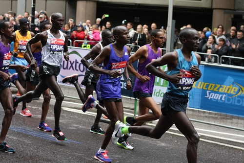 Elite men at the London marathon