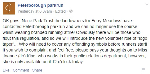 Peterborough parkrun april fools
