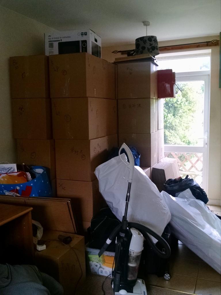 Moving house boxes progress