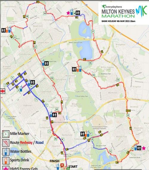Milton Keynes marathon route