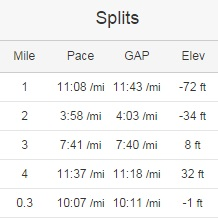 5 mile run split on Strava