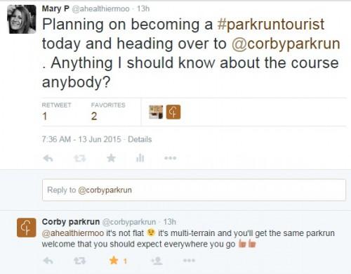 Corby parkrun tourist
