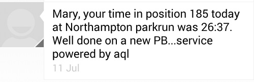 parkrun PB message