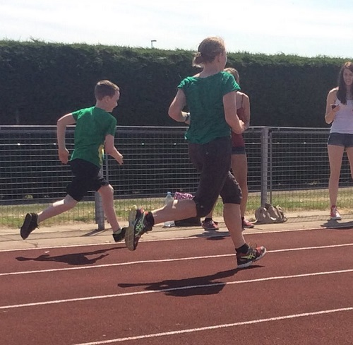 School sports day shuttle runs