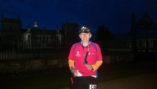 Finishing the 70 mile ultramarathon at Grimsthorpe Castle