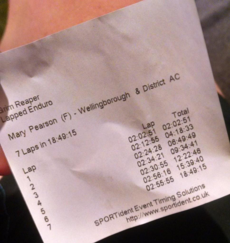 Timing print out at the Grim Reaper 70 mile ultramarathon