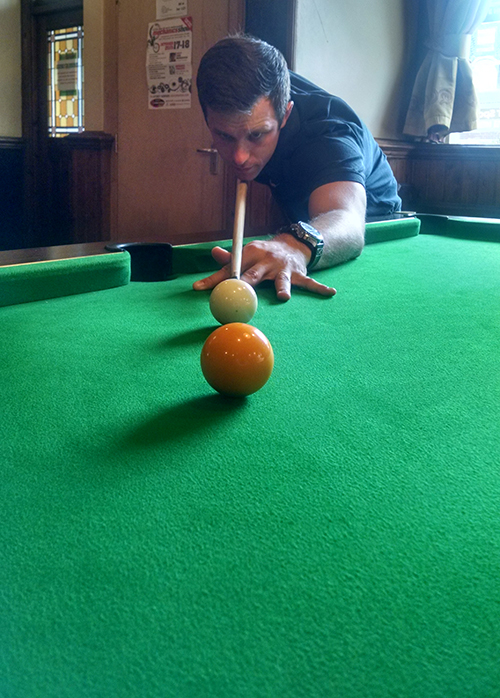Dan playing pool in Stafford